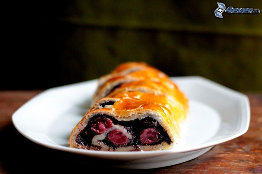 poppy seed strudel, cherries