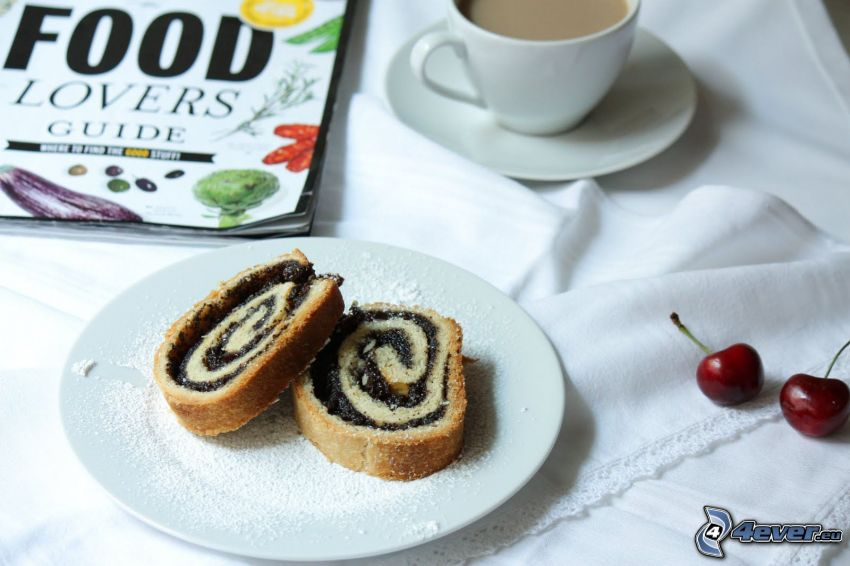 poppy seed strudel, coffee, cherries, magazine