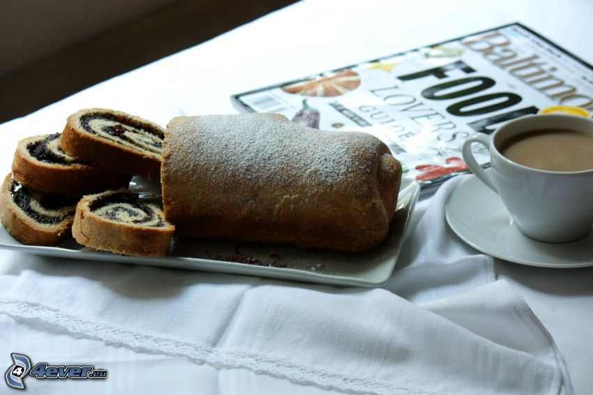 poppy seed strudel, coffee, magazine