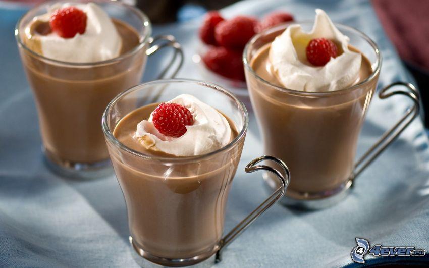 pudding, cream, strawberries