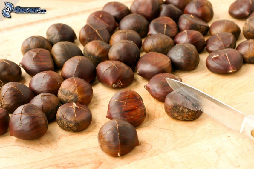 roasted chestnuts, knife