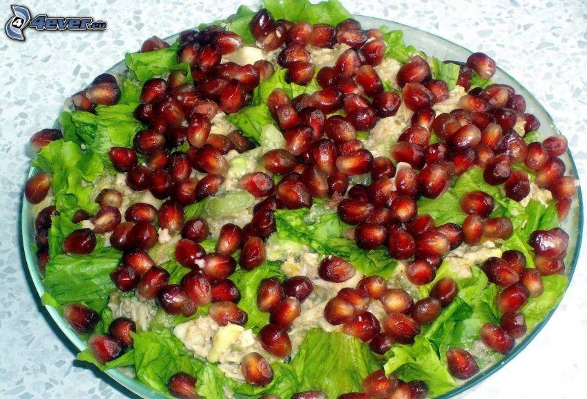 salad, pomegranate