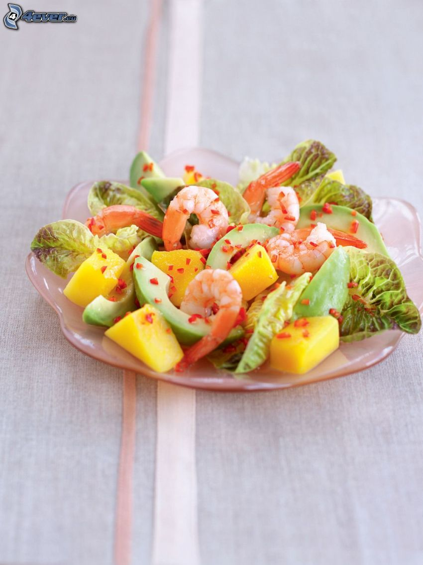 salad, shrimp