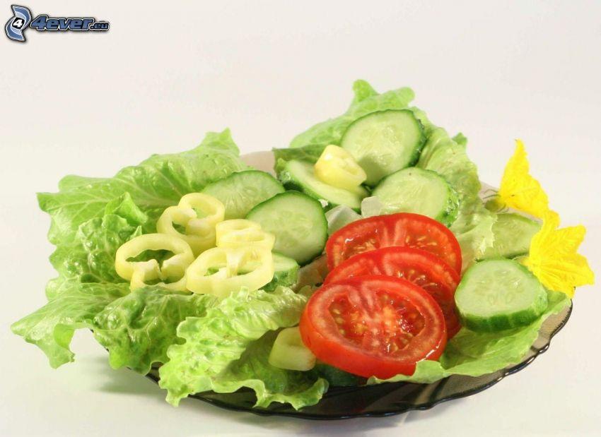 salad, tomato, pepper, cucumber