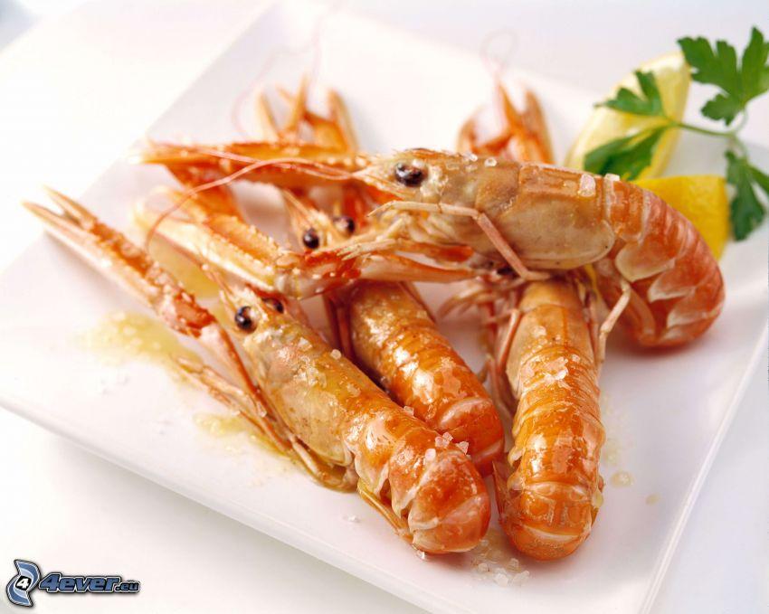 shrimp, lemons