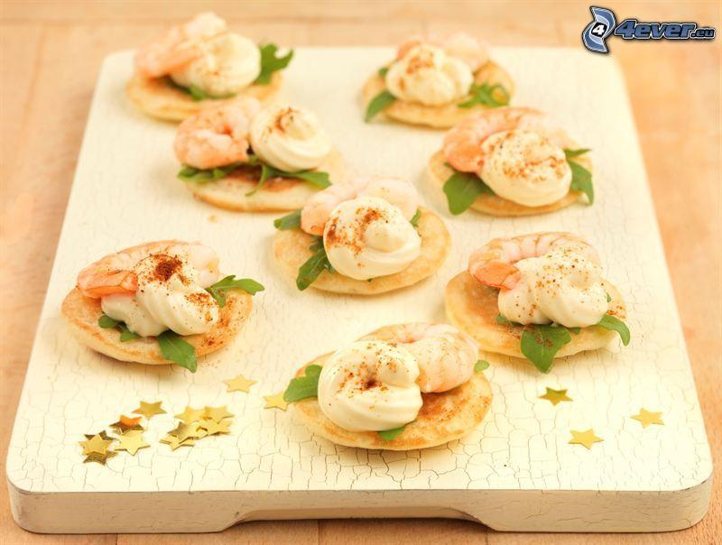 shrimp, pancakes, stars
