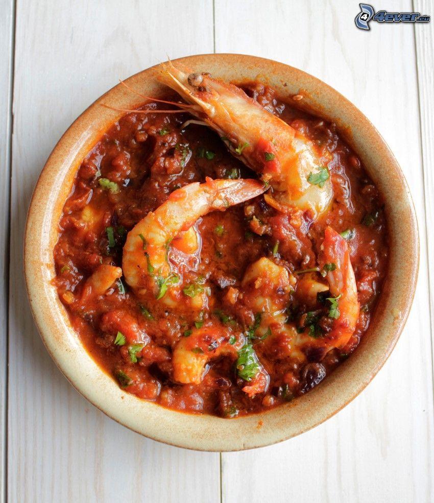shrimp, sauce