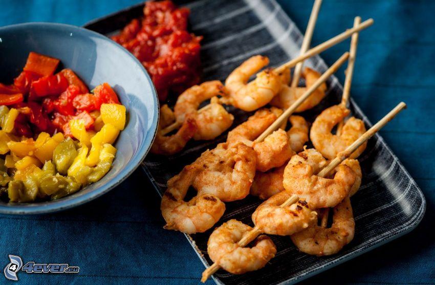 shrimp, sticks, salad