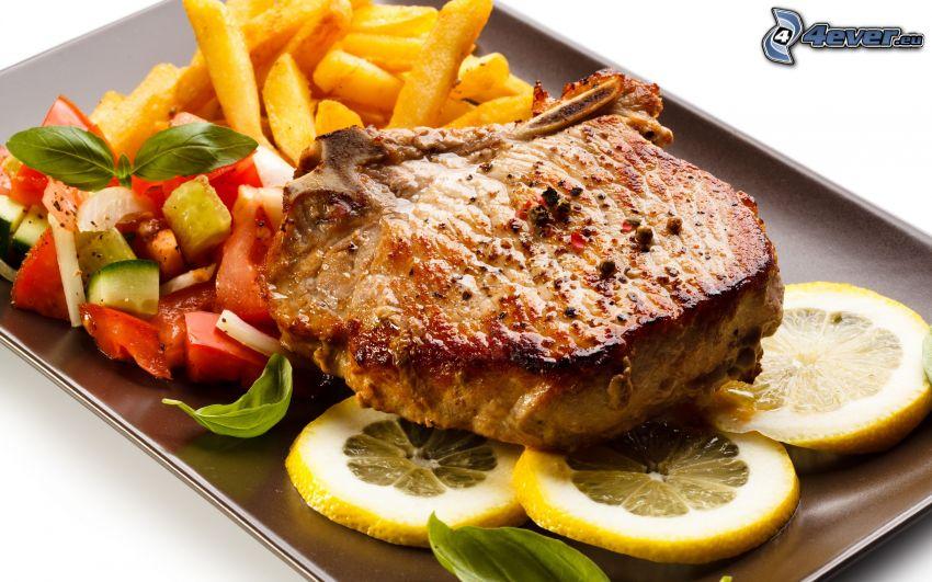 steak, fries, lemon