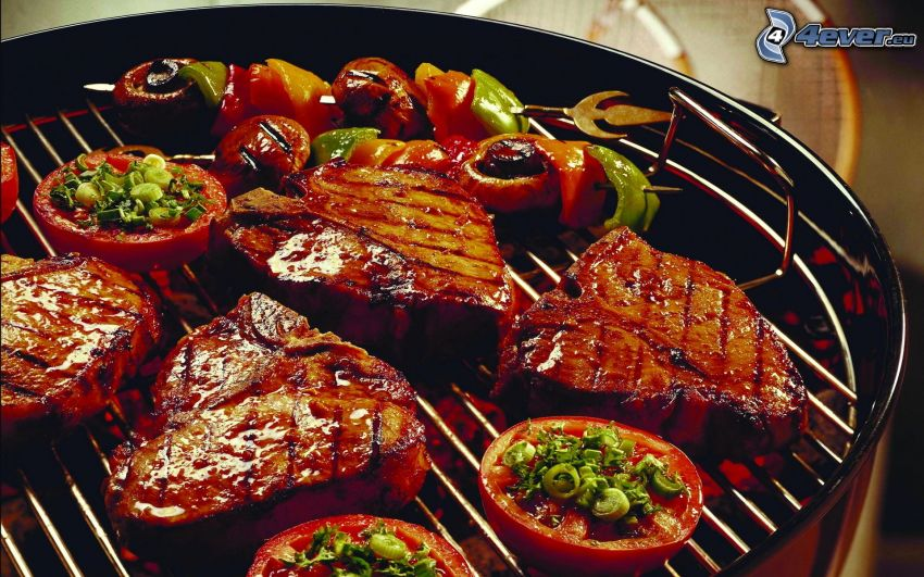 steak, grilled meat, vegetables