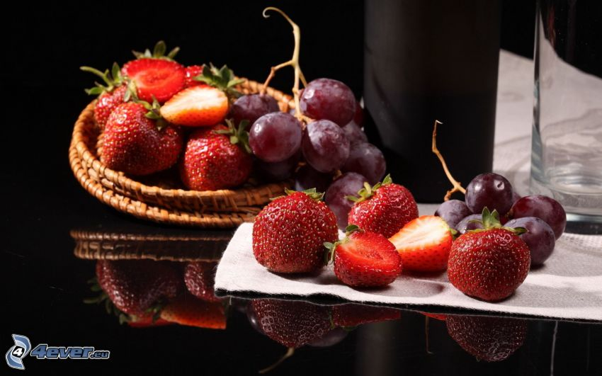 strawberries, grapes