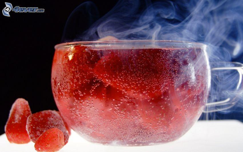 tea, strawberries, steam