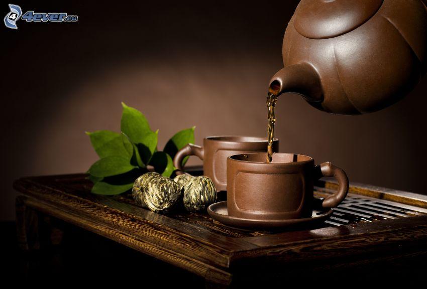 tea, teapot, cups