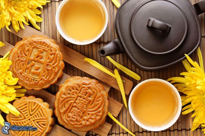 teapot, cup of tea, biscuits