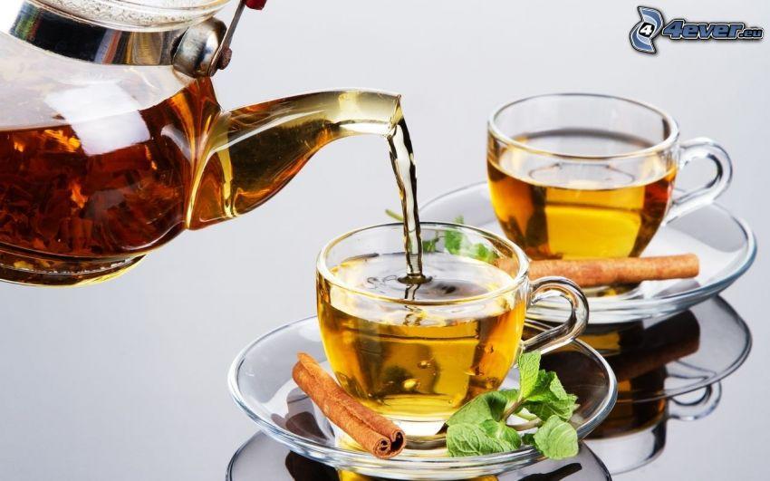 teapot, cups, cinnamon