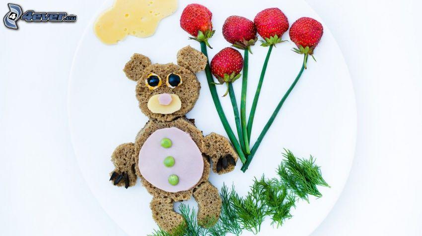 teddy bear, bread, pea, strawberries