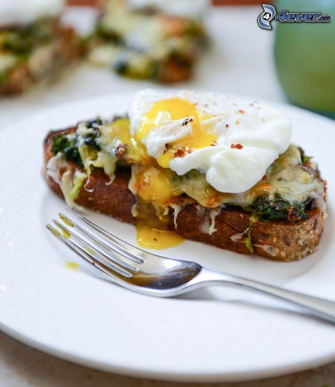 toast, fork, fried egg