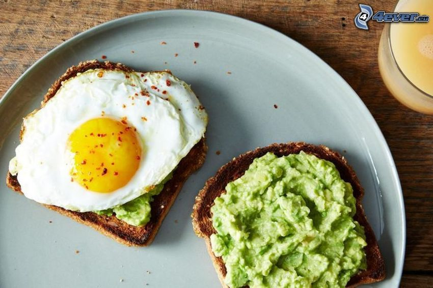 toasts, spread, fried egg