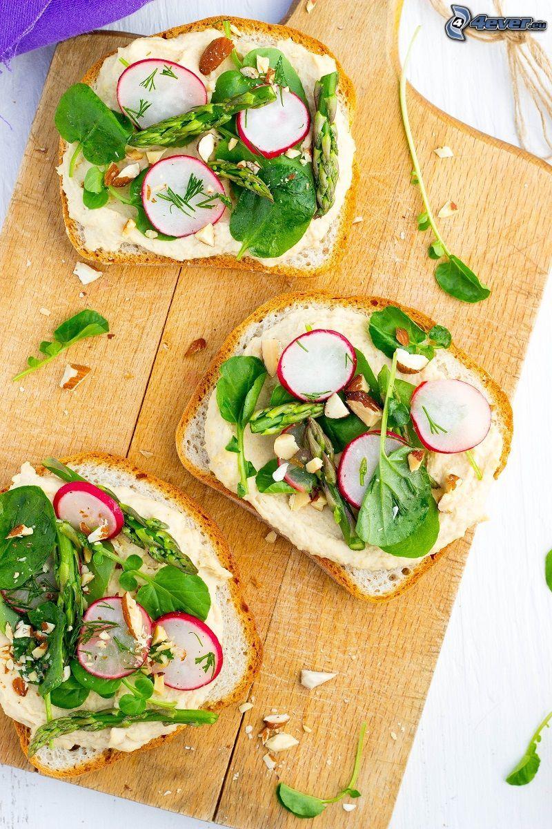 toasts, spread, salad, radishes