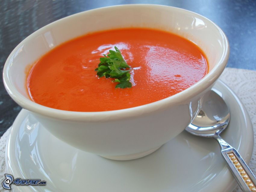 tomato soup, bowl, spoon