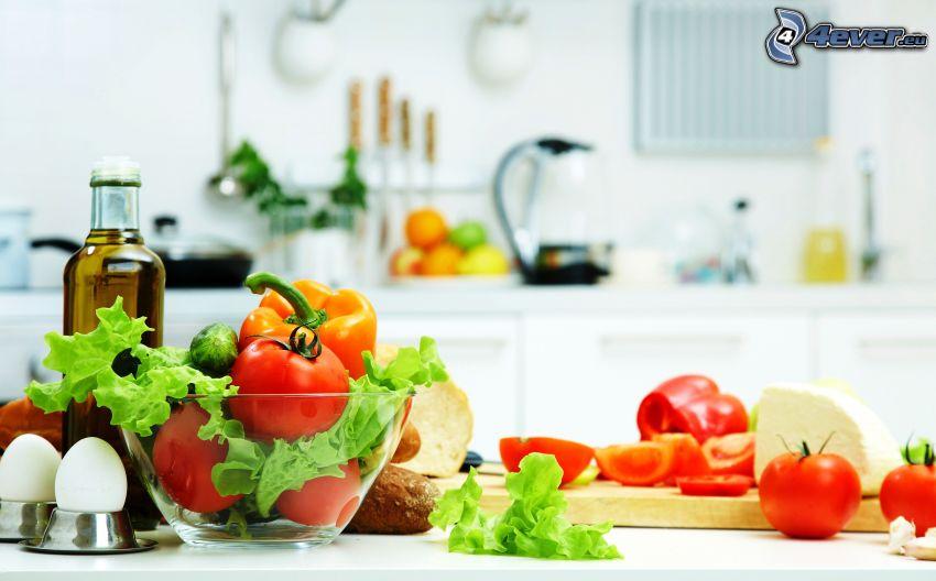 vegetables, eggs, oil, bowl
