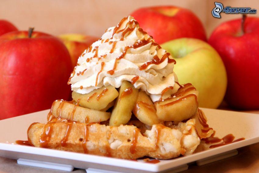 waffles, apples, cream