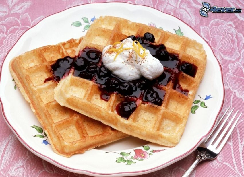 waffles, blueberries, cream