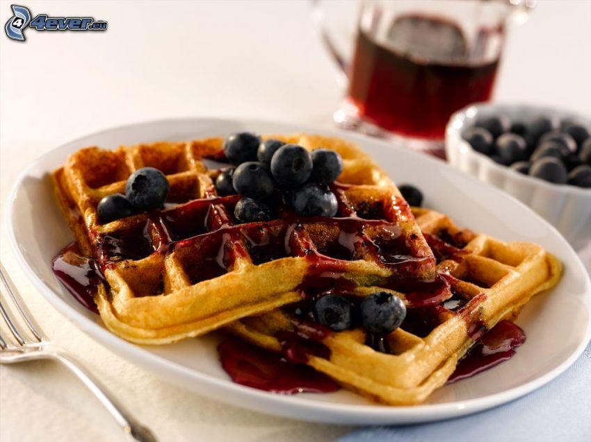 waffles, blueberries