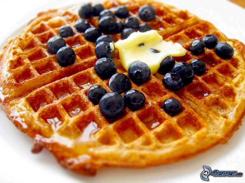 waffles, blueberries