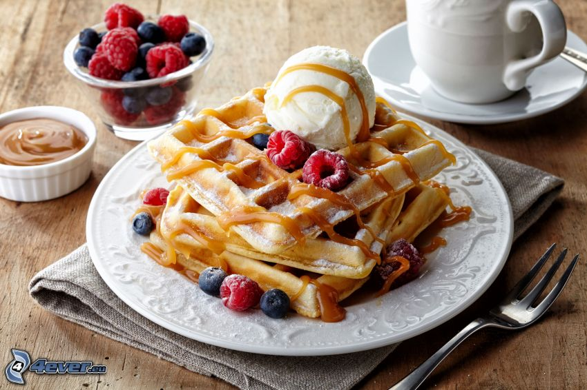 waffles, ice cream, berries
