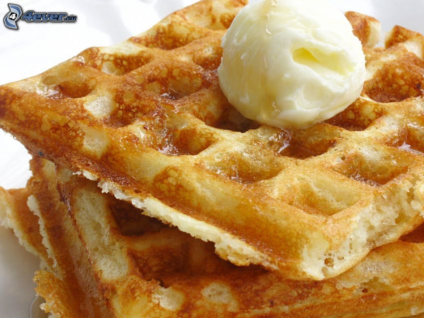 waffles, ice cream
