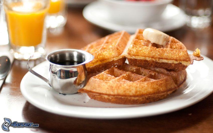 waffles, orange juice
