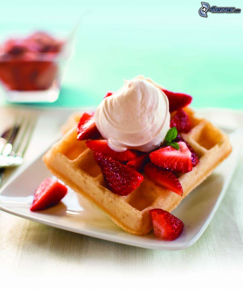 waffles, strawberries, cream