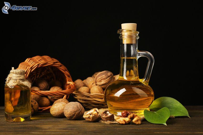 walnuts, oil, baskets