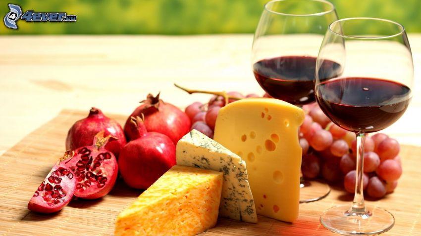 wine, cheese, pomegranate, grapes