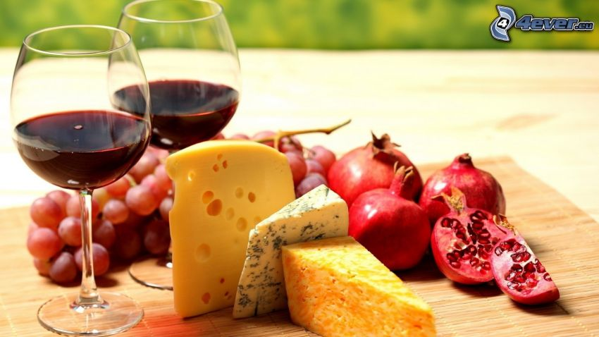 wine, cheese, pomegranate, grapes