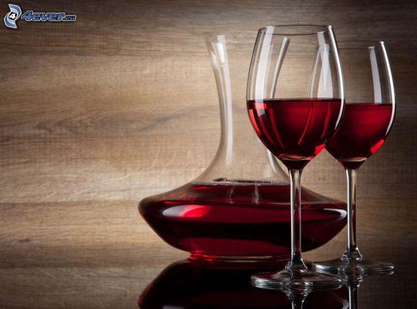wine, glasses, bottle