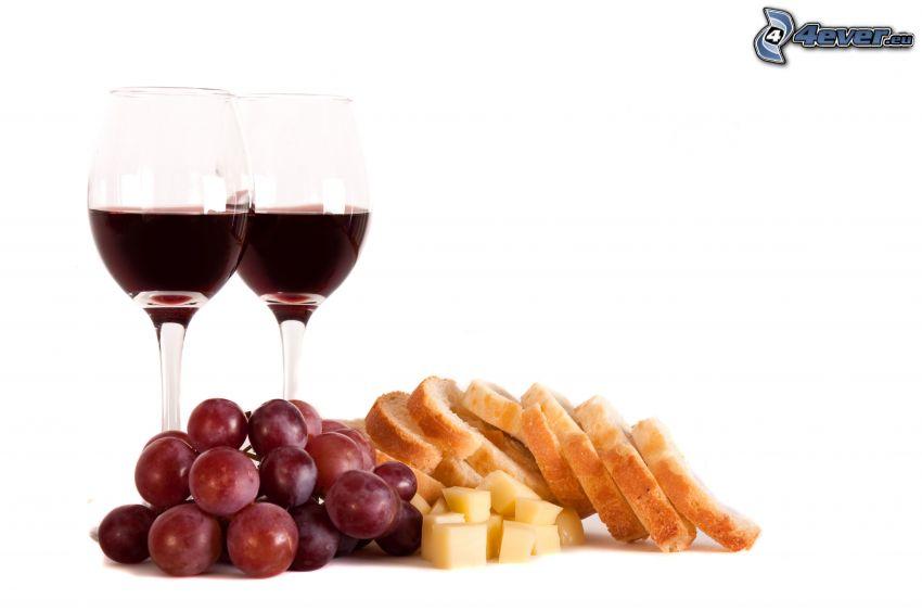 wine, grapes, cheese, bread