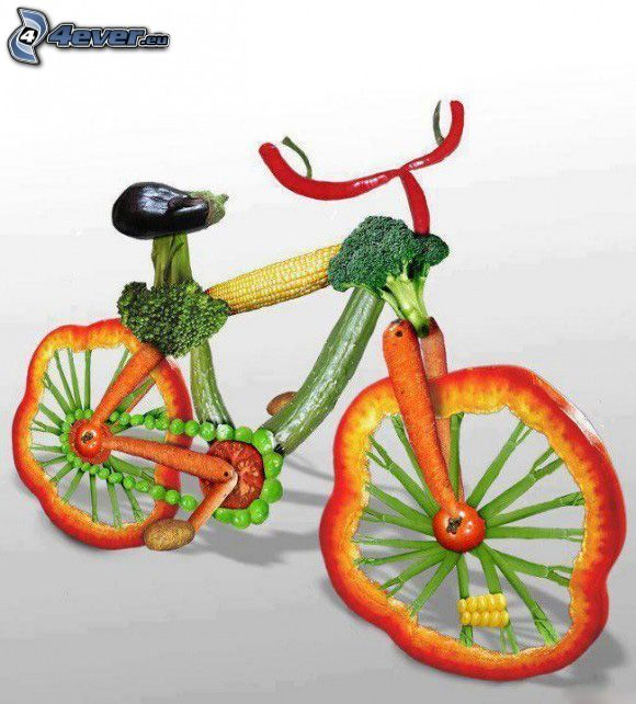 bicycle, vegetables, pepper, tomato, eggplant, cucumbers, corn, pea, broccoli, red chilli pepper, potatoes, carrot