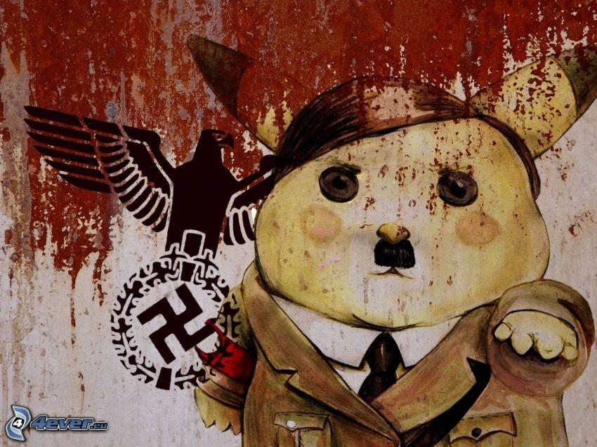 Adolf Hitler, Pikachu, swastika, eagle