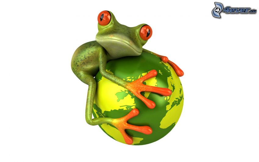 frog, ball, planet Earth