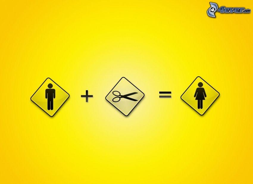 man, scissors, woman, banner