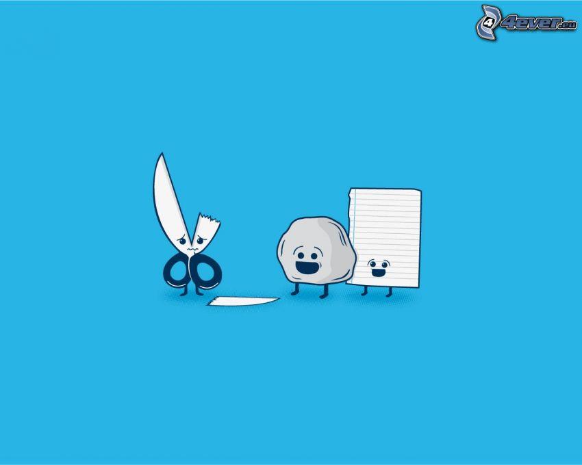 scissors, stone, paper