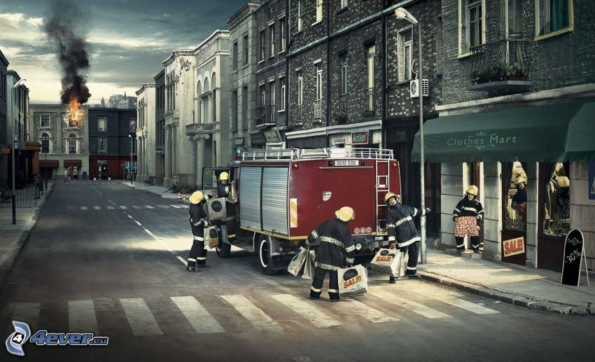 firefighters, shopping, street, fire