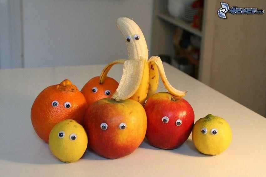 fruit, eyes, banana, red apples, lemons, oranges