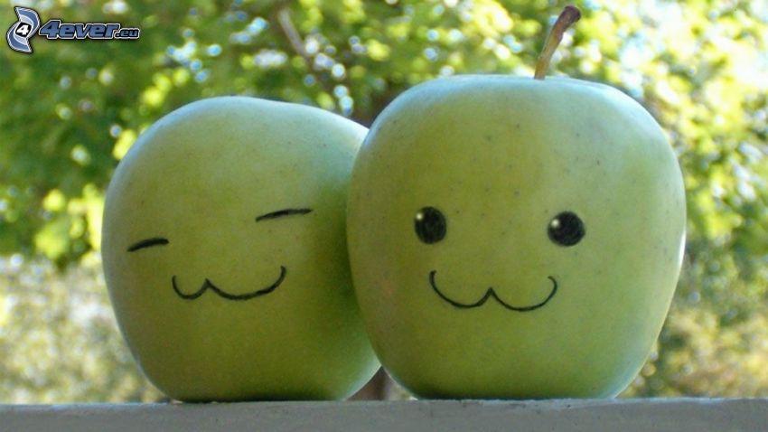 green apples, smiles