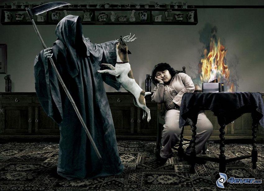 Grim Reaper, Jack Russell Terrier, sleep, fire