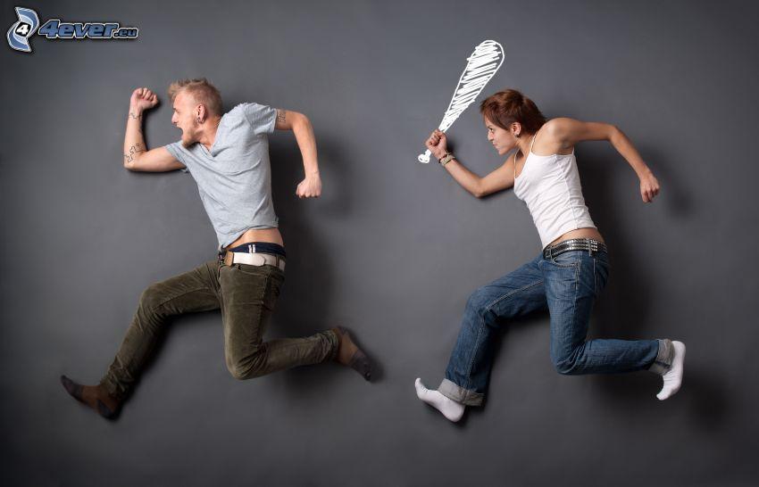 man and woman, baseball bat