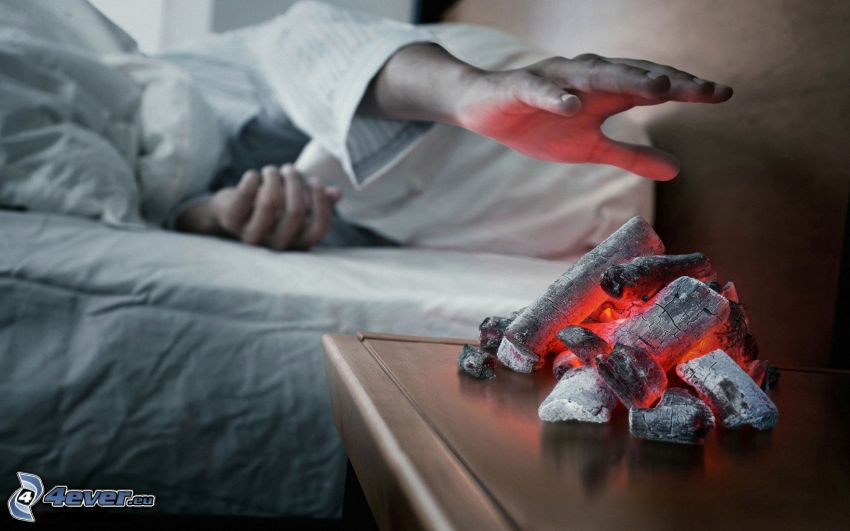 alarm clock, hot coals, hand, heat