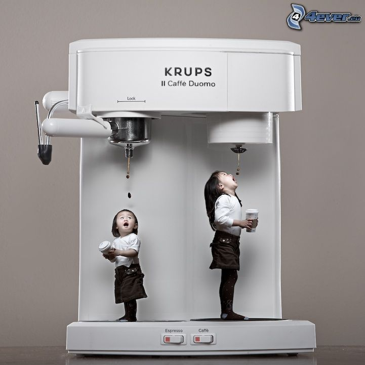 children, coffee maker, funny